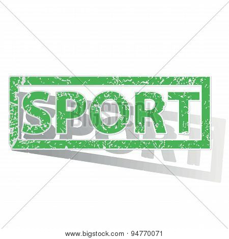 Green outlined SPORT stamp