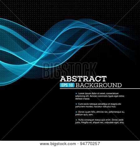 Abstract blue shining wave background. Vector illustration