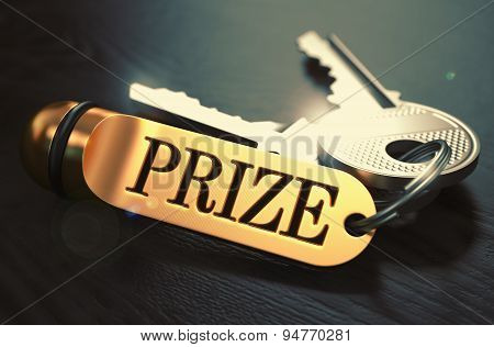 Prize - Bunch of Keys with Text on Golden Keychain.