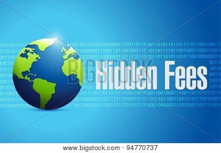 Hidden Fees Globe Sign Concept Illustration