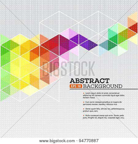 Color geometric background with triangles. Vector illustration