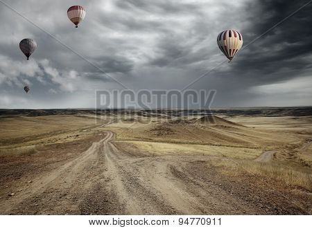Air Balloons Over The Country Road