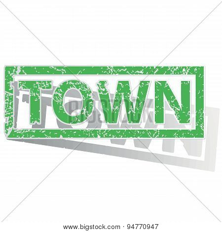 Green outlined TOWN stamp
