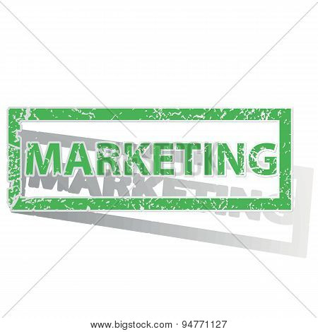 Green outlined MARKETING stamp