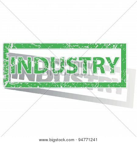 Green outlined INDUSTRY stamp