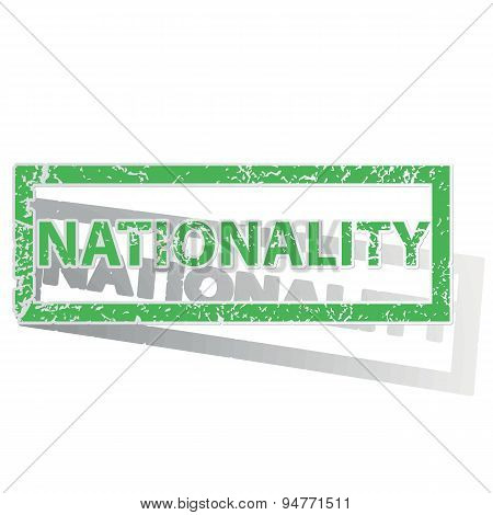 Green outlined NATIONALITY stamp