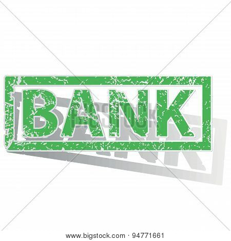 Green outlined BANK stamp