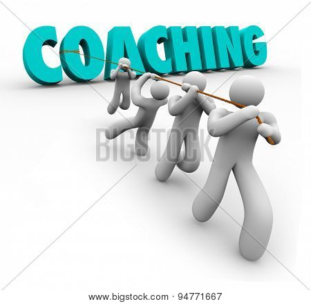 Coaching word in 3d letters pulled by a team to illustrate training, practice, exercise, leadership and teamwork to achieve a goal or success