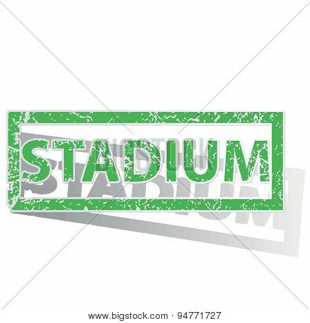 Green outlined STADIUM stamp