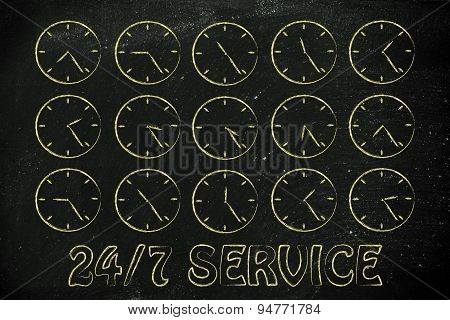 Series Of Clocks Showing Time Passing By: Service Available 24/7
