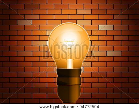 Idea Concept On Light Bulb In Brick Background