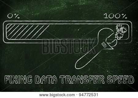 Progress Bar And Wrench, Concept Of Fixing Data Transfer Speed