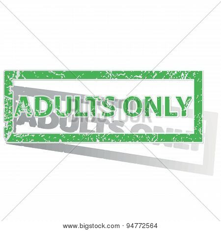 Green outlined ADULTS ONLY stamp