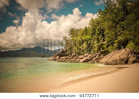 Retro Style Image Of Tropical Island Beach