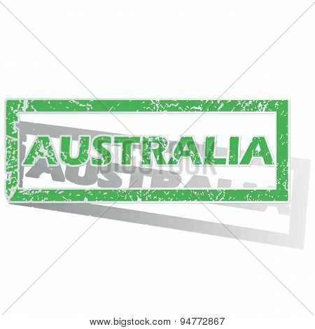 Green outlined Australia stamp