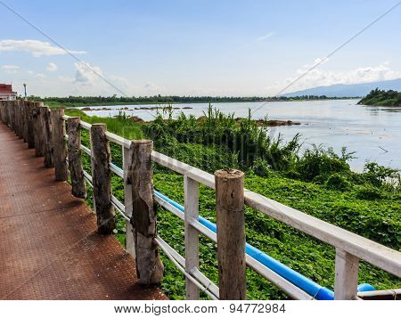 Khong River At Ahong Silawas Temple In Bueng Kan ,thailand