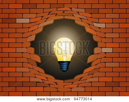 Idea Concept In Light Bulb Behind Brick