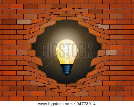 Idea Concept In Light Bulb Behind Brick