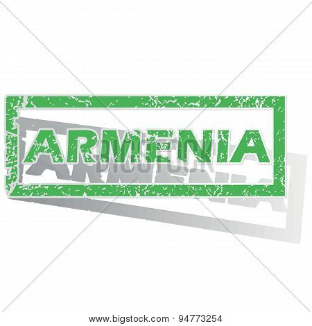 Green outlined Armenia stamp