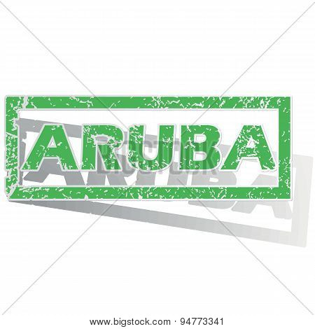 Green outlined Aruba stamp
