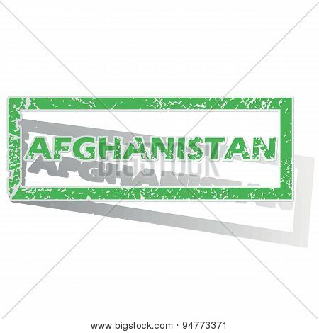 Green outlined Afghanistan stamp