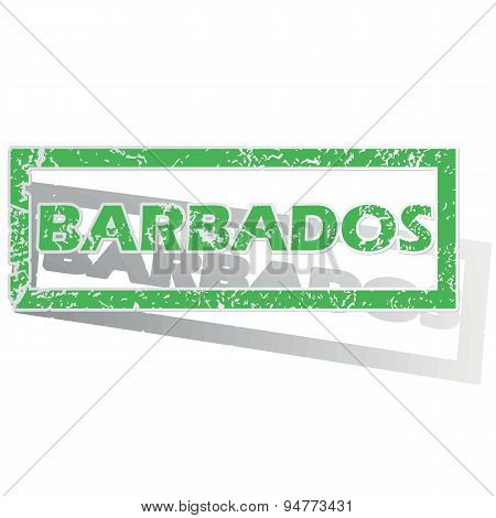 Green outlined Barbados stamp