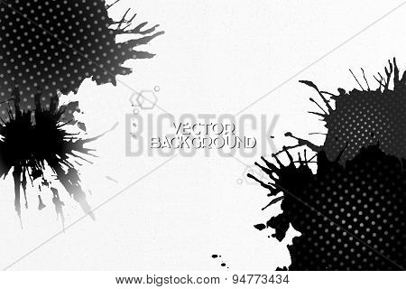 Abstract hand drawn spotted gray-black background with empty place for text message, grunge style ve