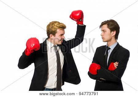 Pair of businessmen boxing on white