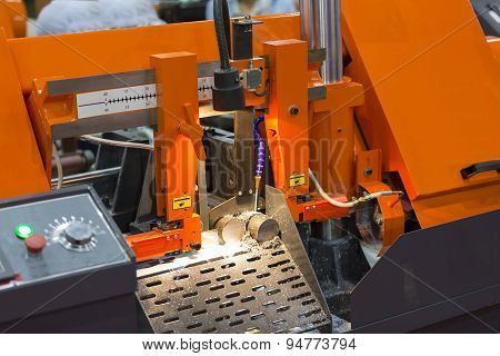 Band Saw Cutting Steel Bar