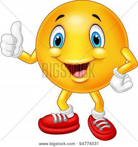 Cartoon emoticon giving thumb up