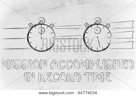 Stopwatch Start And Stop, Mission Accomplished In Record Time