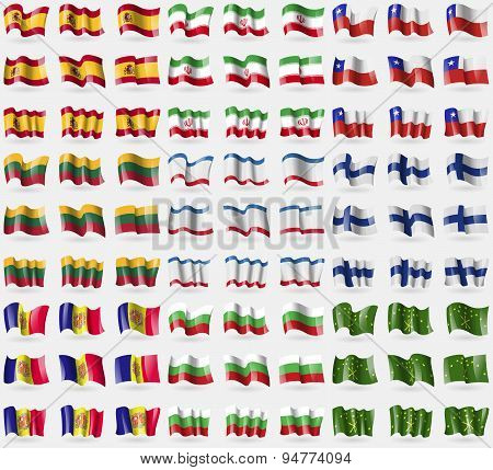 Spain, Iran, Chile, Lithuania, Crimea, Finland, Andorra, Bulgaria, Adygea. Big Set Of 81 Flags. Vect