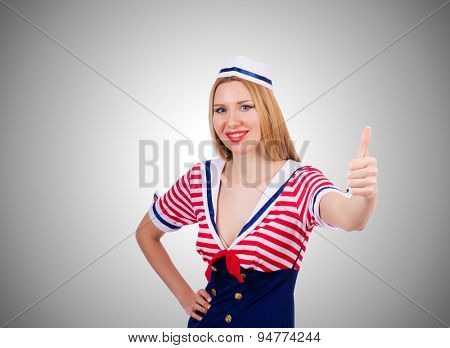 Woman in sailor costume  - marine concept