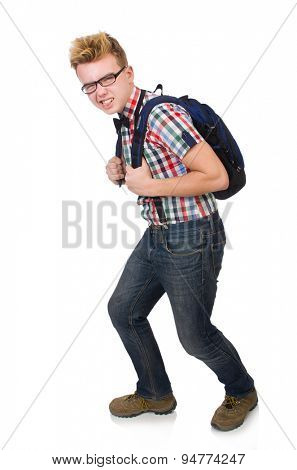 Student with heavy bag isolated on white