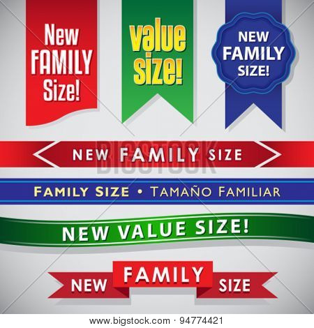 New Family Size and Value Size icons, seals and ribbons set