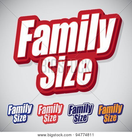 Family Size Text Seal with style and color variations