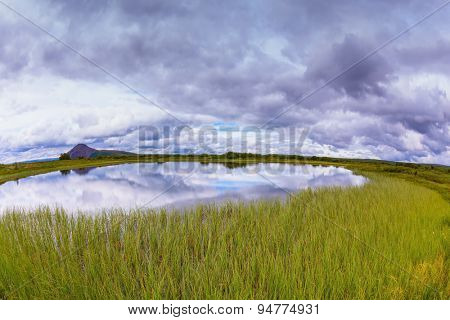 Small lake surrounded by green meadow.  In the smooth water of cold lake reflects cloudy sky. Summer Iceland