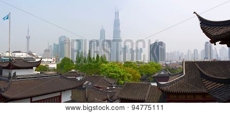 Panoramic view of the Shanghai down town