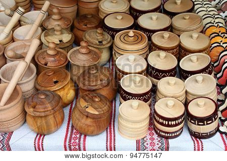 wooden utensils on the market