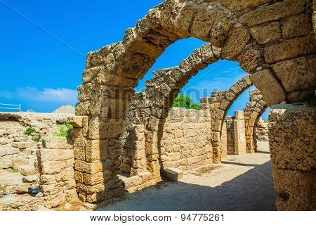 National park Caesarea on the Mediterranean. Israel. Vaulted ceilings of stalls ancient times