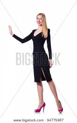 Beautiful blond in elegant black dress isolated on white