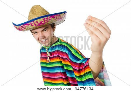 Spanish wearing sombrero in funny concept