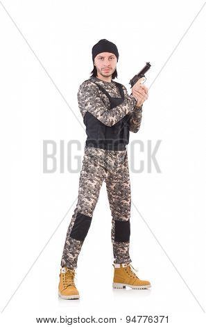 Young man in military uniform holding pistol isolated on white