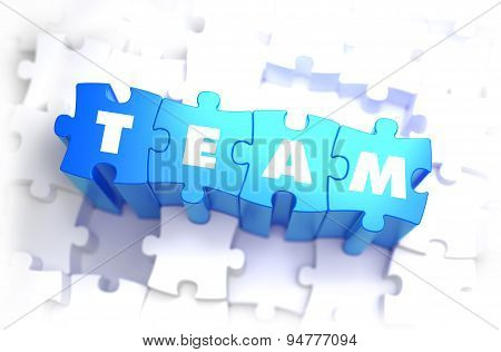 Team - White Word on Blue Puzzles.