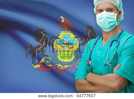 Surgeon With Us States Flags On Background Series - Pennsylvania