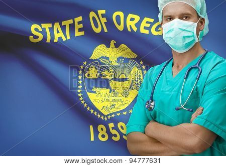 Surgeon With Us States Flags On Background Series - Oregon