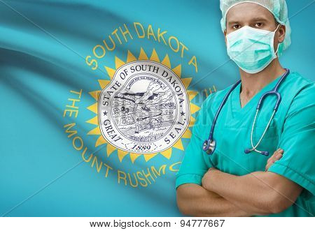 Surgeon With Us States Flags On Background Series - South Dakota