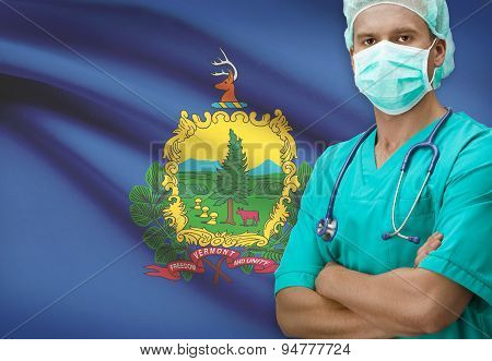Surgeon With Us States Flags On Background Series - Vermont