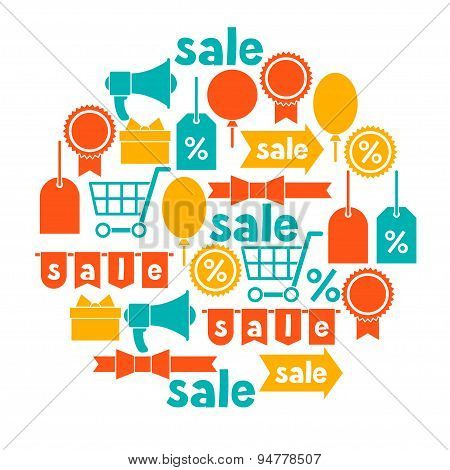 Background with sale and shopping icons design elements