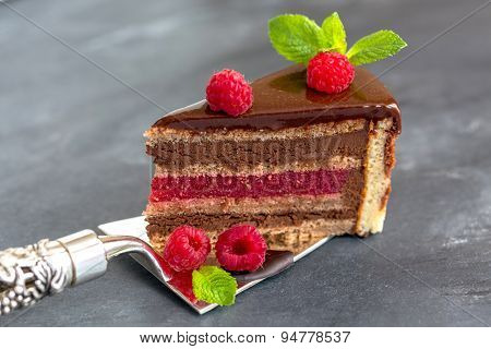 Chocolate Cake With Raspberry Jelly.